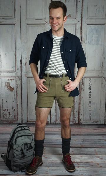 Modell Scout aus grauem Rindspaltleder